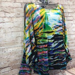 Alberto Makali vibrant color dolman sleeve top XL